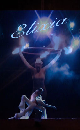 elixia banner, fire and UV show by Will-o'-the-Wisp and Carnival of the Divine Imagination