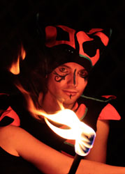 Fire clubs, circus performance