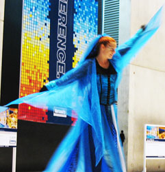 stilt walker at the national convention centre in christchurch New Zealand